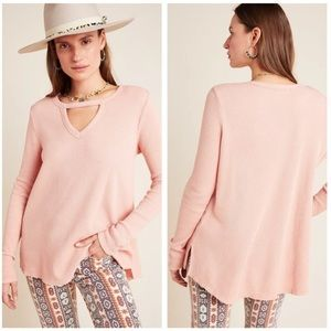 Anthropologie Pink Waffle Knit Top with Keyhole